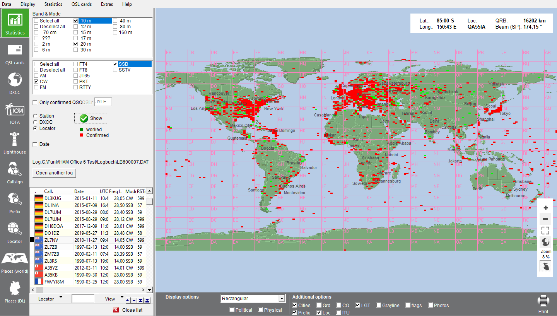 World map with locator statistics
